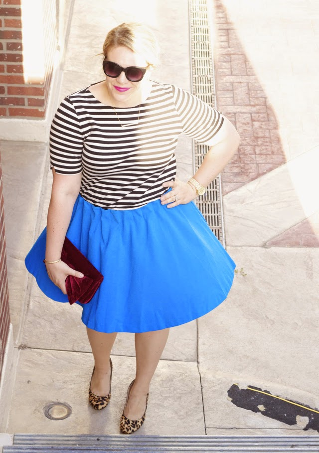 Blue Skirt with Stripes & Leopard