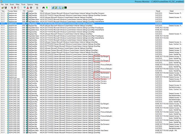 A ProcMon showing IE ESC enabled