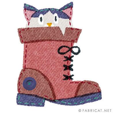 ブーツに入っている可愛い猫のイラスト