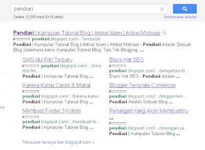 Pendiari Mendapatkan Sitelink Google