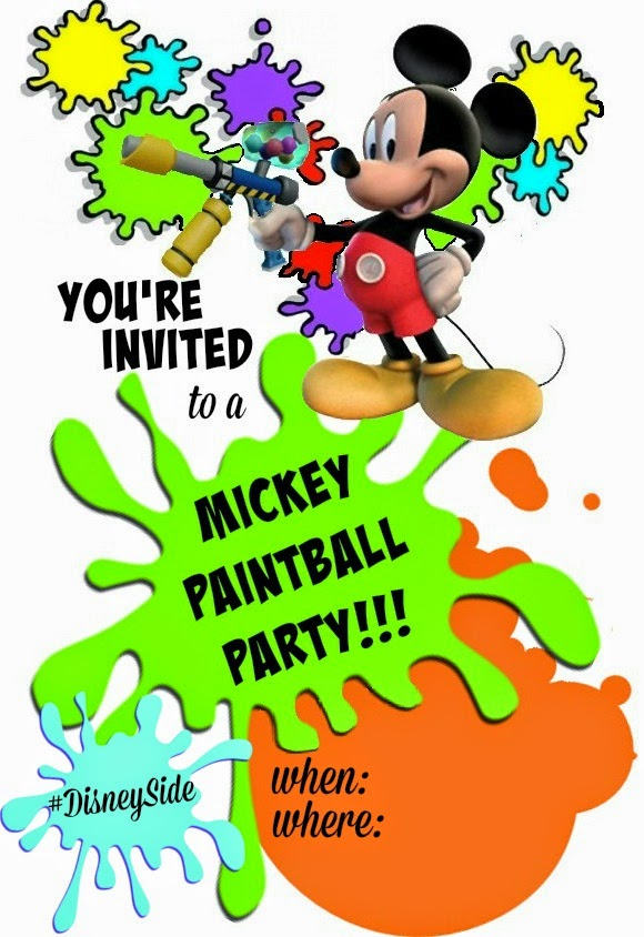 Mickey Paintball party invitation cards