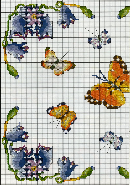 Professione donna schema punto croce un quadretto con le for Schemi punto croce fiori e farfalle