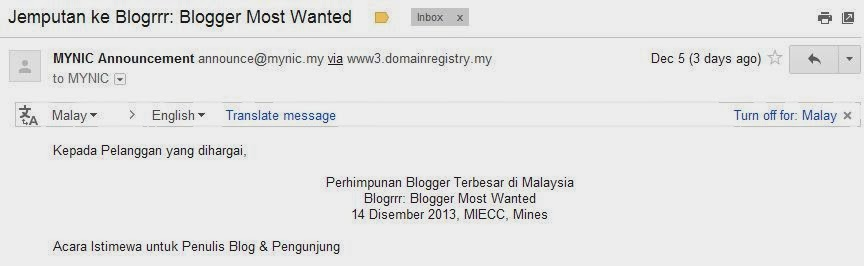 Jemputan ke Blogrrr Blogger Most Wanted