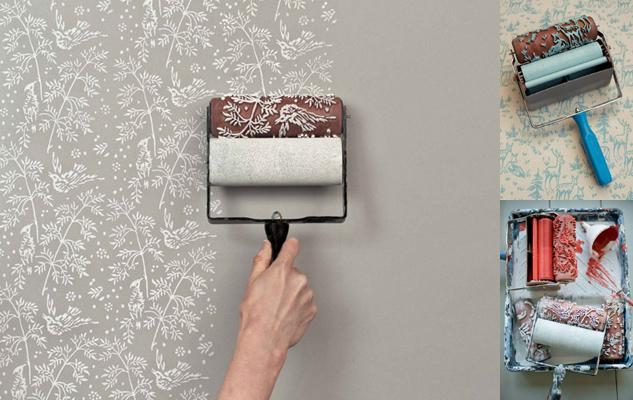 Mengecat Dinding Dengan Roll Cat yang Bermotif sebagai Pengganti Wallpaper - Creative Wall Paint with Patterned Paint Rollers