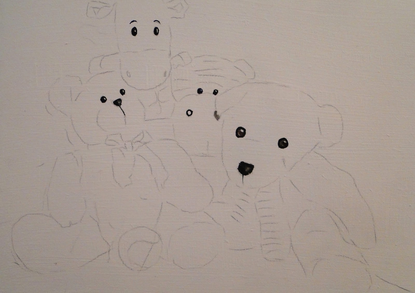 step by step to paint teddy bears