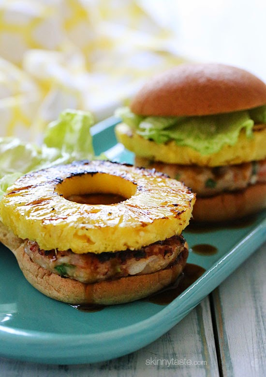 ... shrimp burgers topped with grilled pineapple and a homemade pineapple