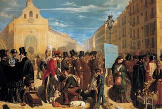 Reunión de personas, burgueses, comerciantes y pueblo llano, en una plaza