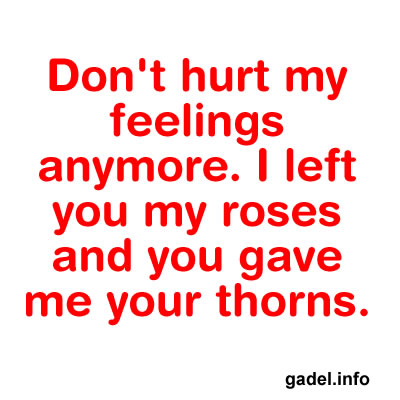 Don't hurt my feelings anymore. I left you my roses and you gave me ...