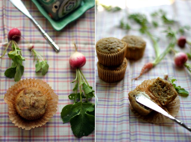 Dairy-Free, Gluten-Free Banana Muffins made with carrot and olive oil, along with radishes
