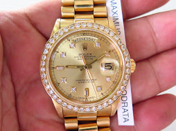 ROLEX OYSTER PERPETUAL DAY DATE ALL GOLD CASE AND BRACELET - DIAMOND DIAL AND BEZEL - ROLEX 18038