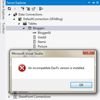 How to fix the Visual Studio 2012 Error   'An incompatible DacFx version is installed'