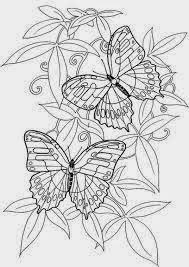 Mewarnai gambar bunga dan kupu-kupu untuk anak 15