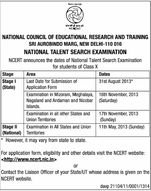 National Talent Search Examination (NTSC) 2013-14 www.ncert.nic.in
