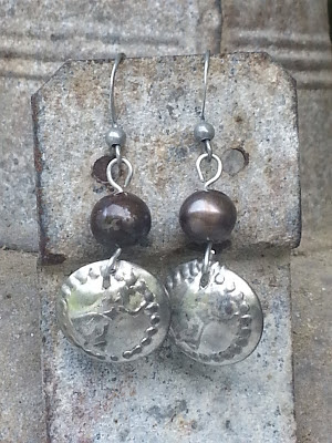 domed recycled charm earrings with recycled pearls