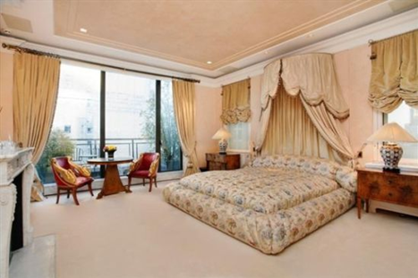 david geffens master bedroom in new york city duplex penthouse with fireplace