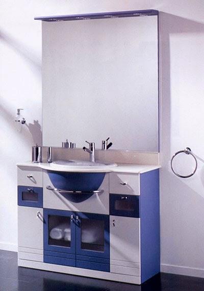 Bachas Blancas Para Baño:MUEBLES PARA BAÑOS EN AZUL, BLANCO Y HAYA / Decoración de baños