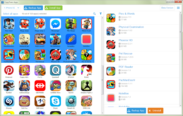a selection of iphone apps on the pc