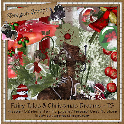 "Scrapbook Freebie ""Fairy Tales and Christmas dreams"" by tootypupscraps"