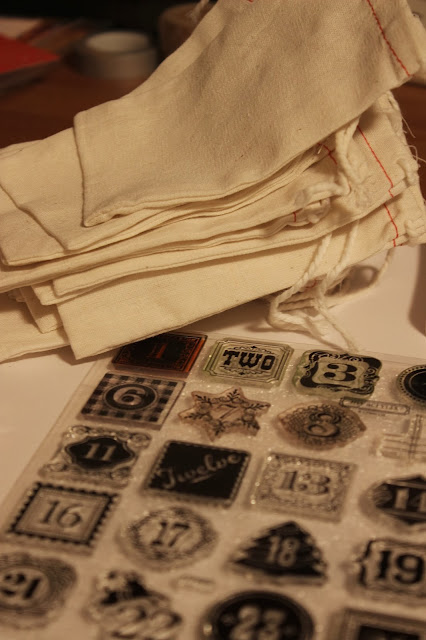 These intricate number stamps were perfect for the muslin bags for this DIY advent calendar