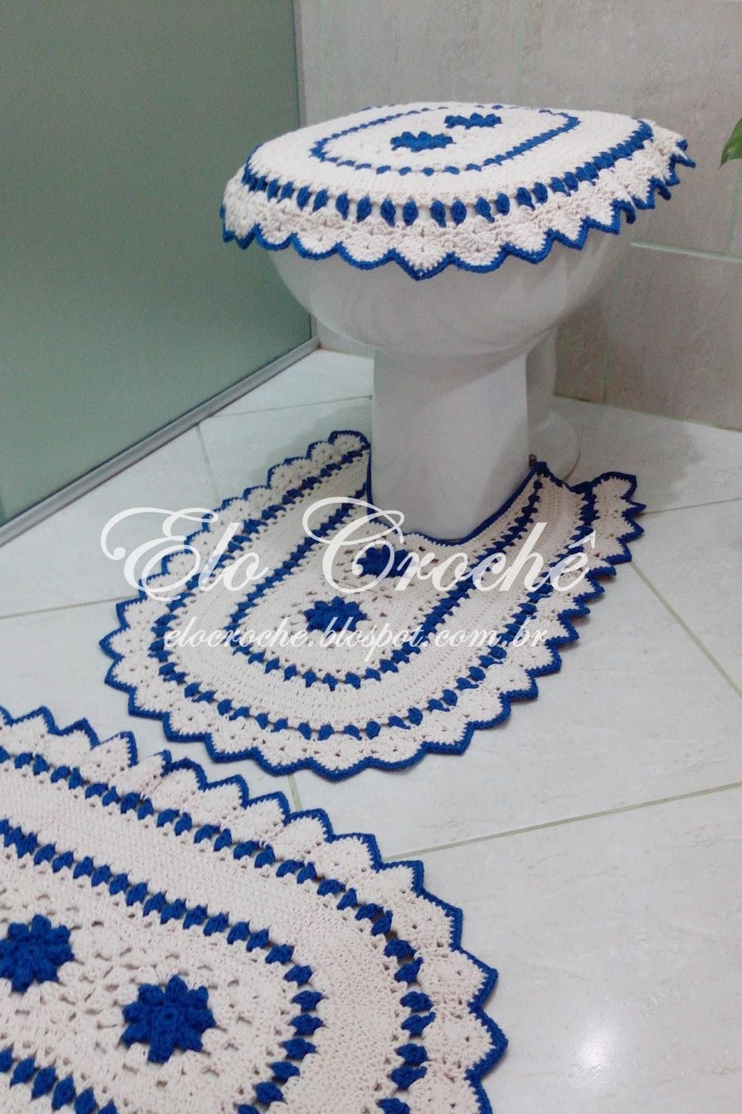 Elo Crochê by Eloiza Castro: JOGO DE BANHEIRO EM CROCHÊ AZUL  #153470 1066x1600 Azul Para Banheiro