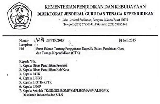 Surat Resmi Dirjen GTK tentang Penutupan Portal Padamu Negeri Download PDF