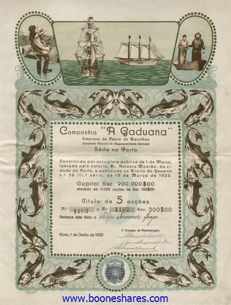 """Share certificate of Portugeuse cod fishing company Companhia """"A Gaduana"""" Empresa de Pesca de Bacalhau"""