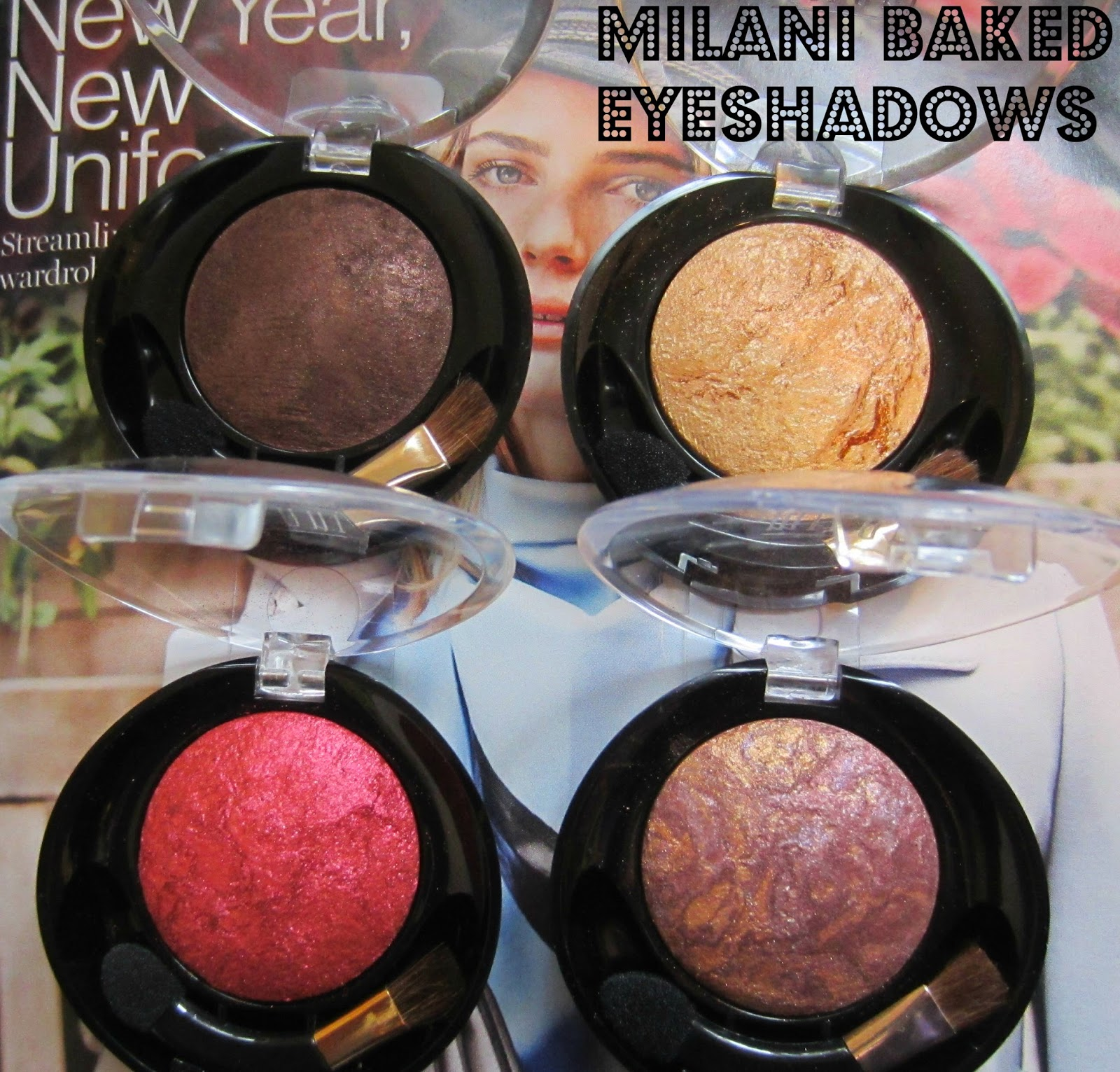 Milani Baked Eyeshadows in I heart You, Drench In Gold, Fusion, Rich Java