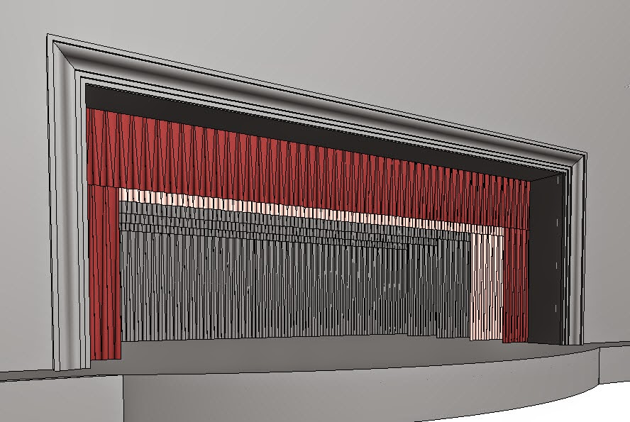 Closed theater curtains - Revit Oped Stage Curtains