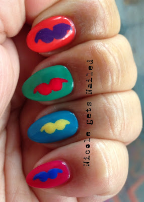 Pop Art Mustache Nails