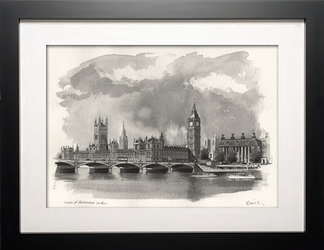 Houses of Parliament London illustration