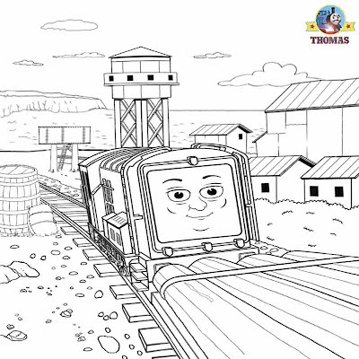 Picture of Diesel Adventure on Misty Island Thomas the train journey drawing for kids to color in