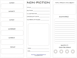 photo of nonfiction student worksheet Free PDF