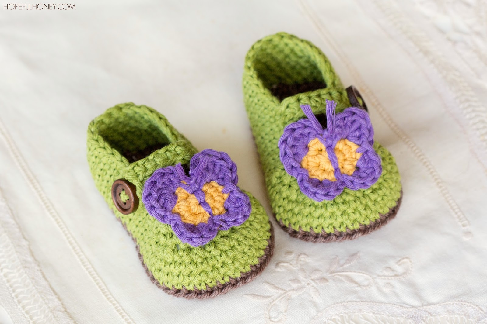 Crochet Butterfly Pattern : ... Crochet, Create: Butterfly Garden Baby Booties - Free Crochet Pattern