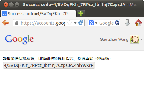 Google 應用程式授權碼