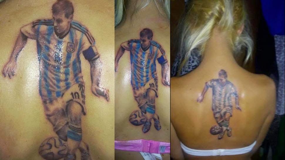 Tatuaje de Leo Messi en la espalda de Dalma Rolón