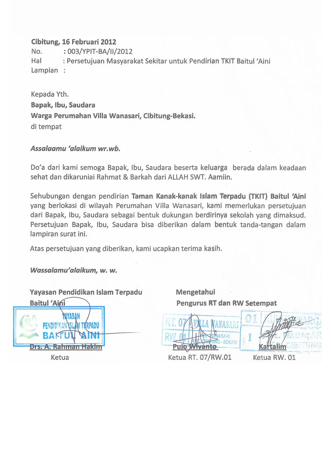 Tkit Tpq Baitul Aini Contoh Format Persetujuan Warga