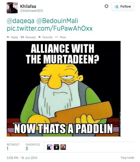 Meme con Gaspar de los Simpsons de un simpatizante del Estado Islámico
