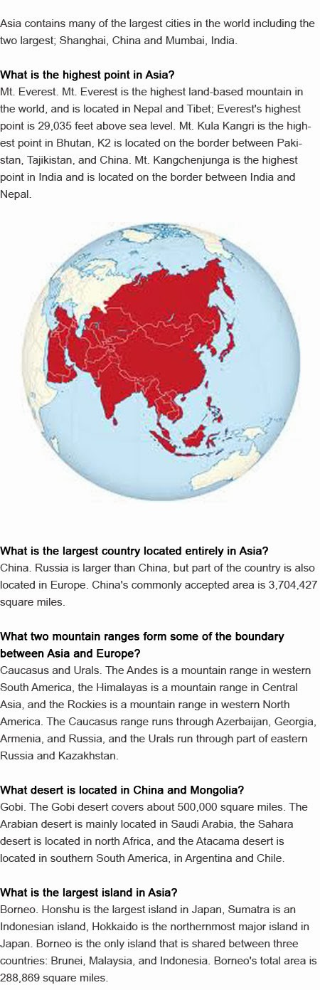Fun facts about Asia for kids