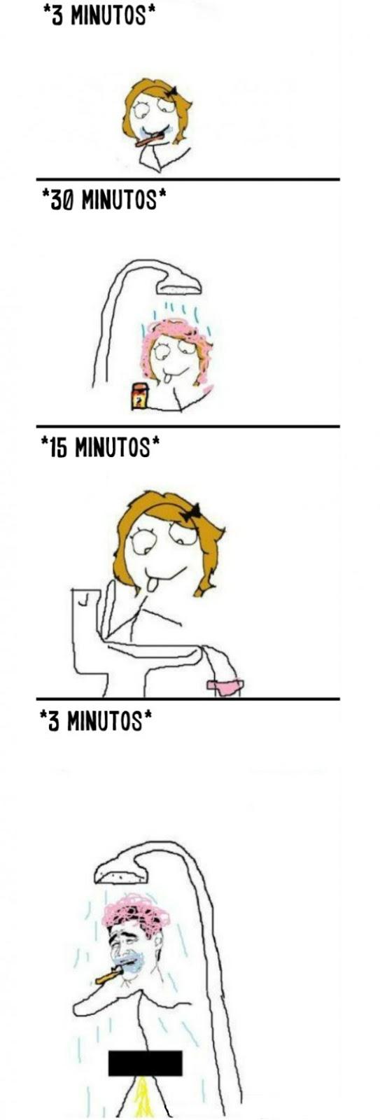 como se bañan hombres y mujeres