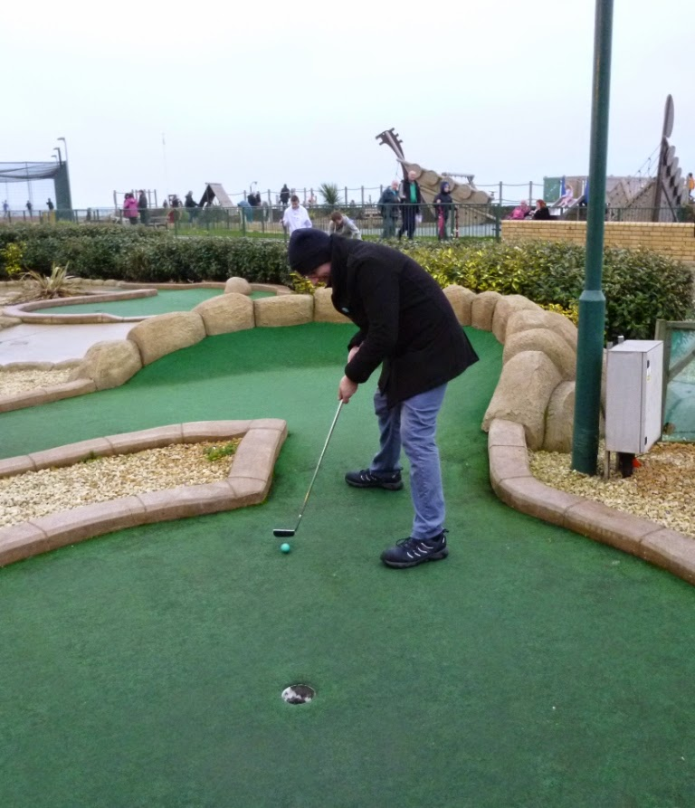 Crazy Golfer Richard Gottfried on the 18th hole at Hastings' Pirate Golf