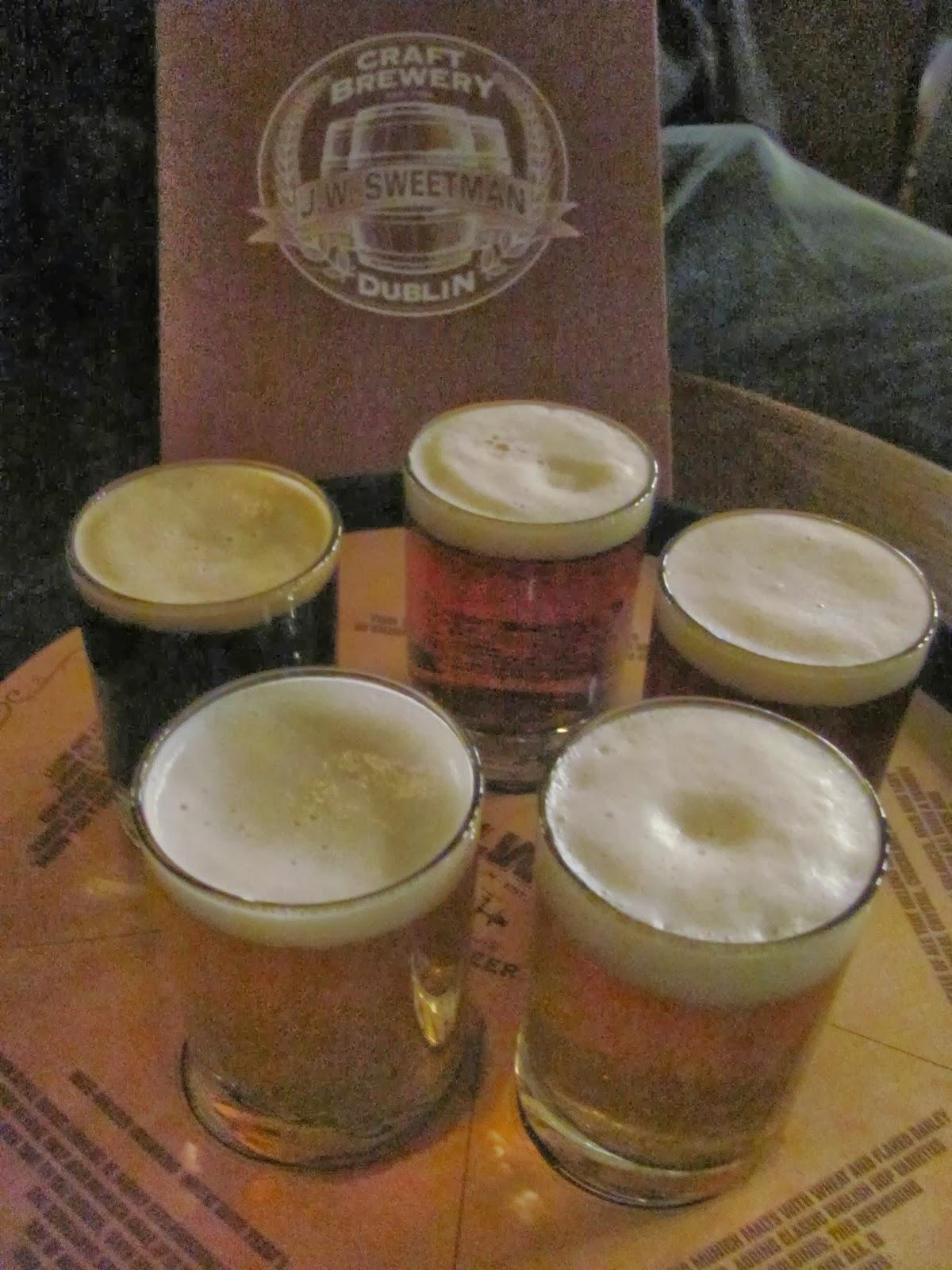 A flight of beers by J.W. Sweetman Dublin, Ireland