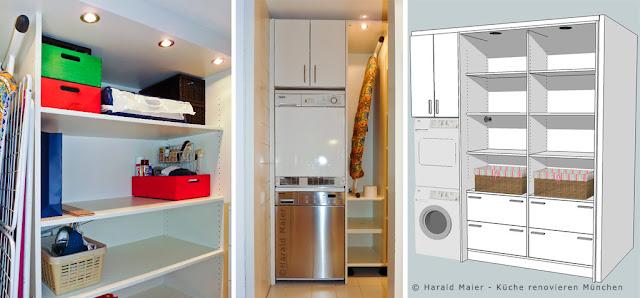 Einbauschrank, Waschküche, Nutzraum, Waschmaschine, Trockner, Turm, Waschkeller