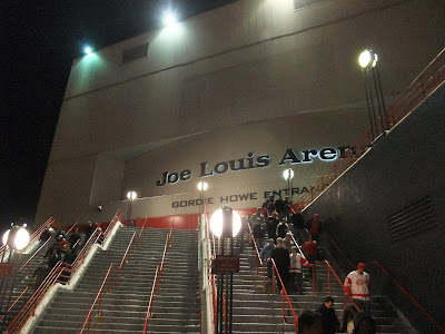 steps in front of joe lewis arena, detroit red wings, hockey