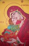 Παναγία Ελεούσα Αυγοτέμπερα σε μουσαμά© Nότα Κυμοθόη