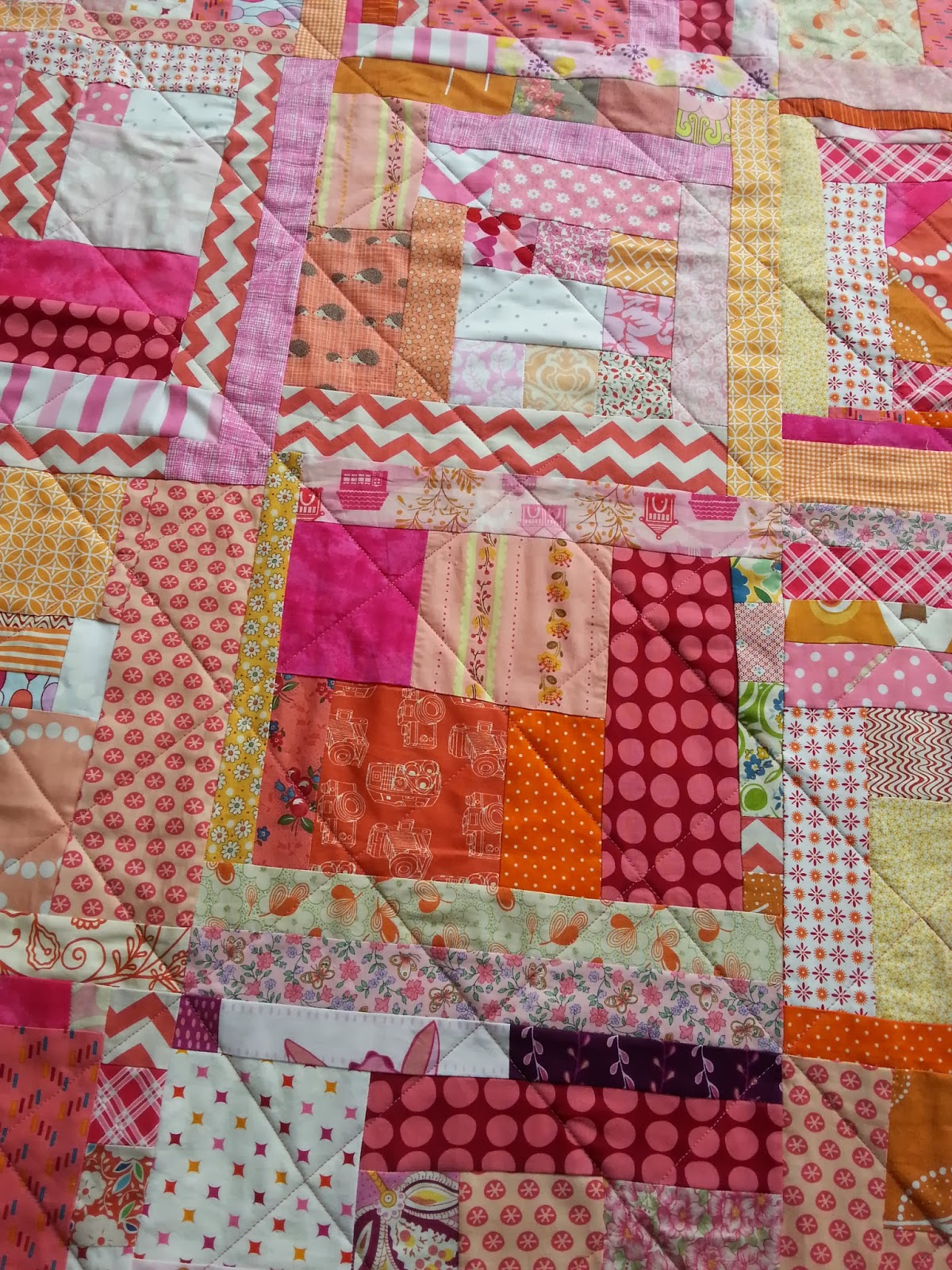 Pink and Orange Scrappy Improv Quilt