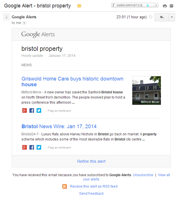 Google Alert screenshot new