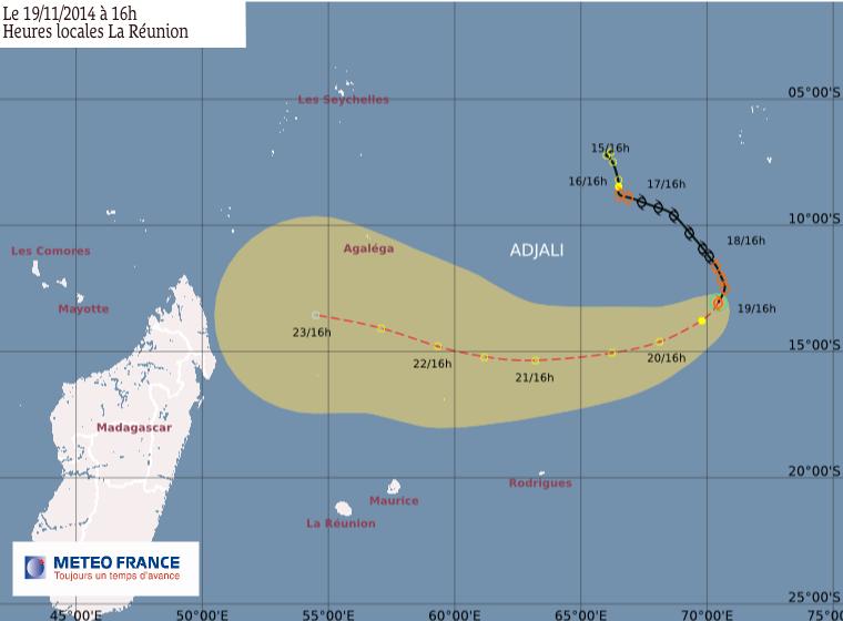 Trajectoire - La tempête tropicale Adjali devrait bientôt se dissiper