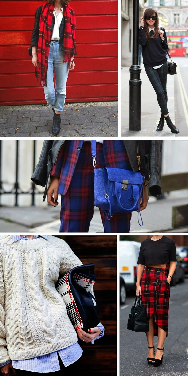 tartan trend, plaid, fashion trend 2013, check print, tartan print inspiration, vogue tartan, tartan plaid scarf suit, fashion blogger, fashion blog tartan midi skirt bag