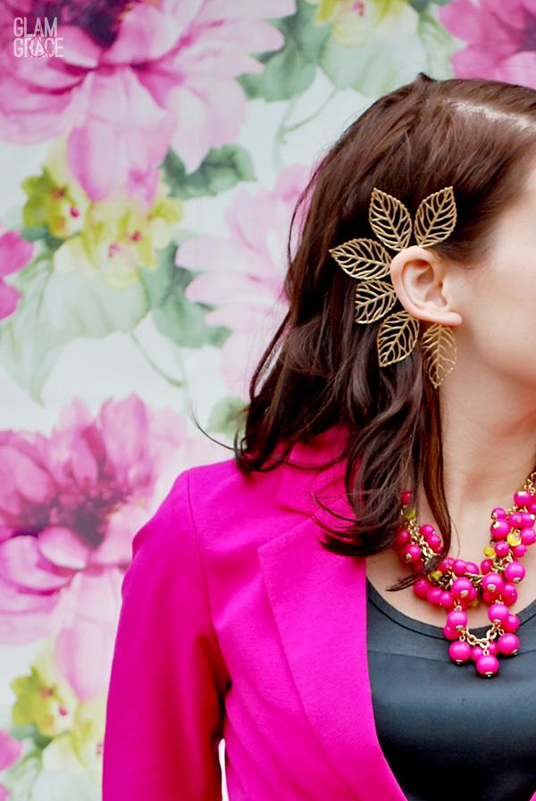 Akron fashion - ear cuff - floral background