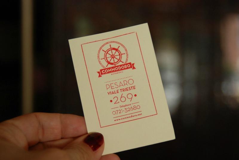 biglietto da visita commodoro ristorante pesaro